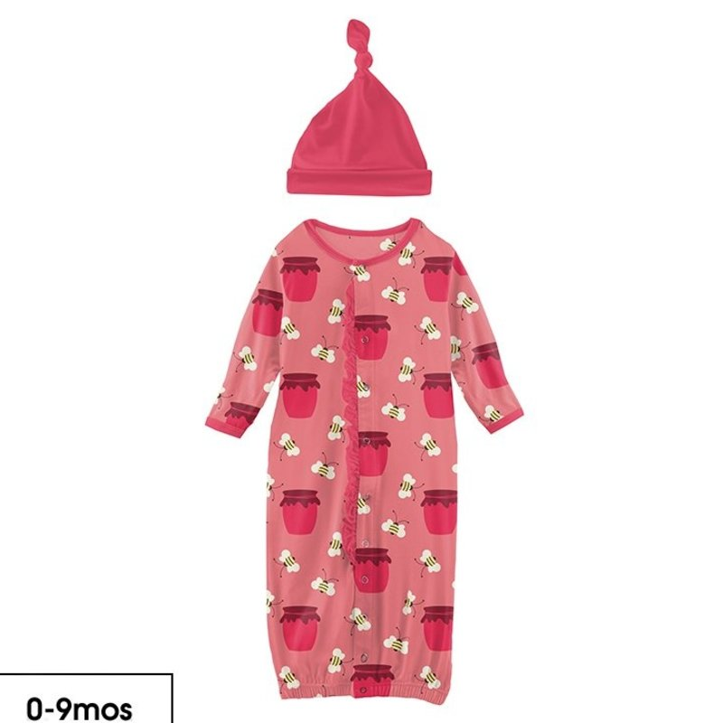 KICKEE PANTS RUFFLE GOWN CONVERTER SET - STRAWBERRY BEES AND JAM