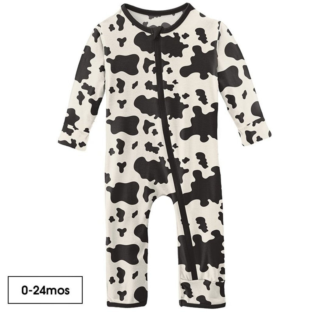 KICKEE PANTS COVERALL WITH ZIPPER - COW PRINT