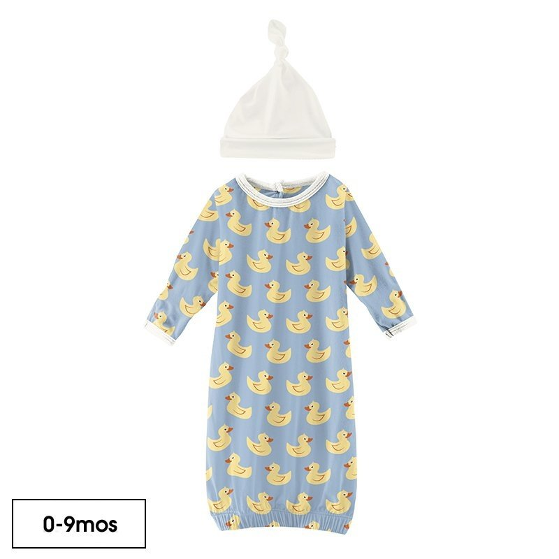 KICKEE PANTS GOWN AND HAT SET - POND RUBBER DUCKS