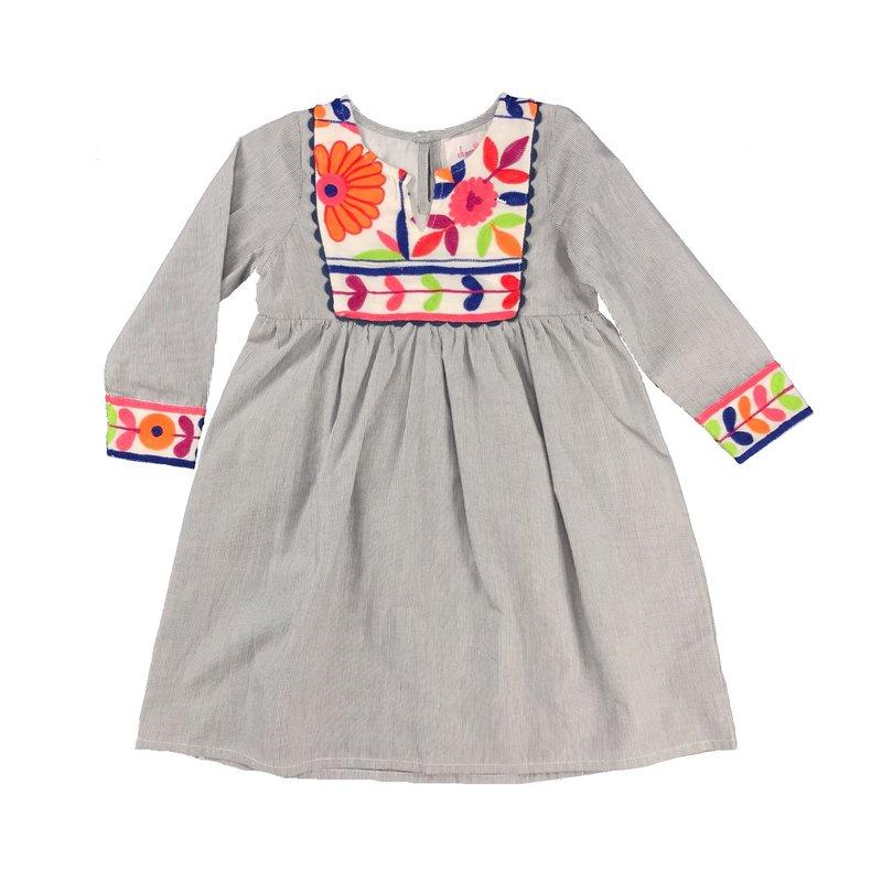 JOYA GREY STRIPED DRESS