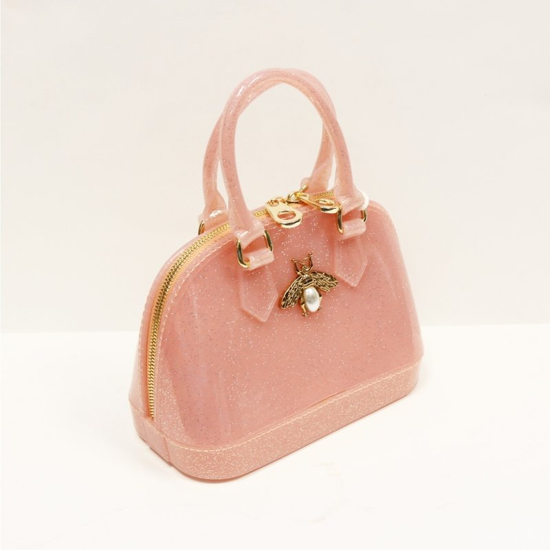 DOE A DEAR GOLD BEE JELLY BOWLING BAG - PINK