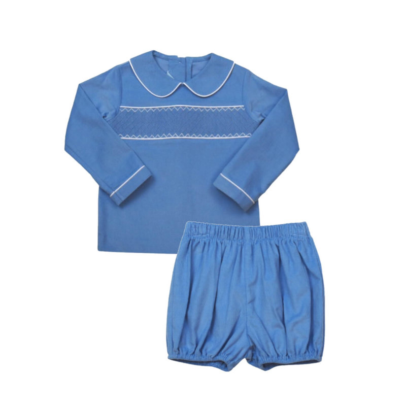 LULLABY SET LIAM L/S SHIRT AND MUNRO BLOOMER - BLUE CORDUROY