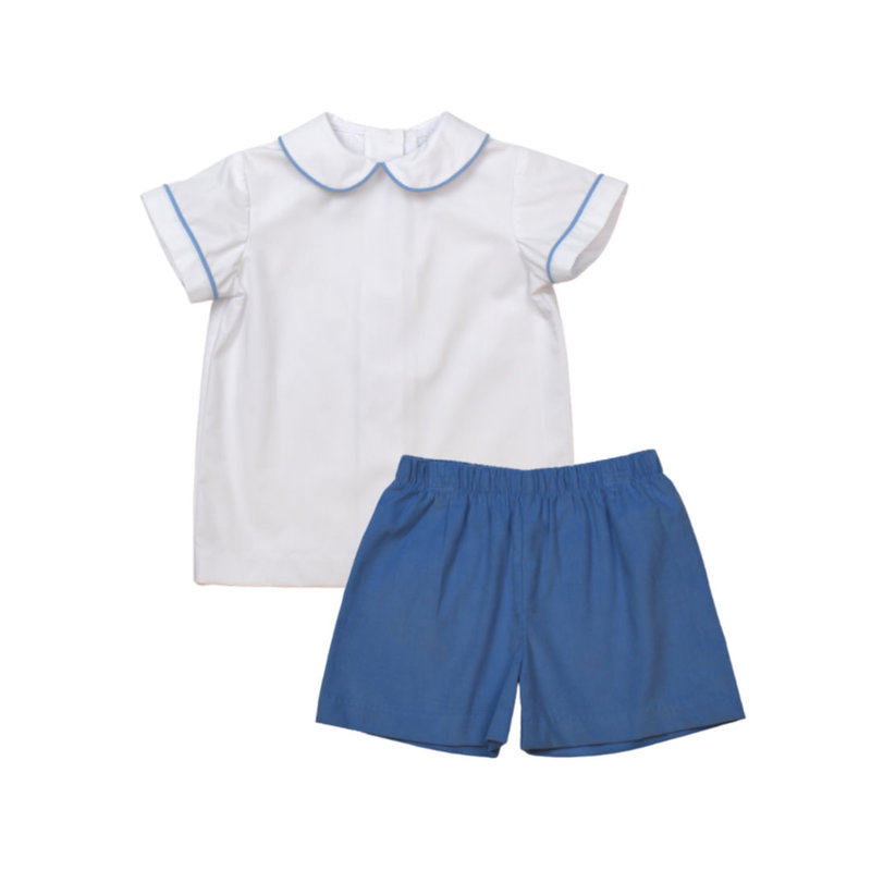 LULLABY SET SIBLEY SHIRT AND STEWART SHORT - WHITE/BLUE CORD