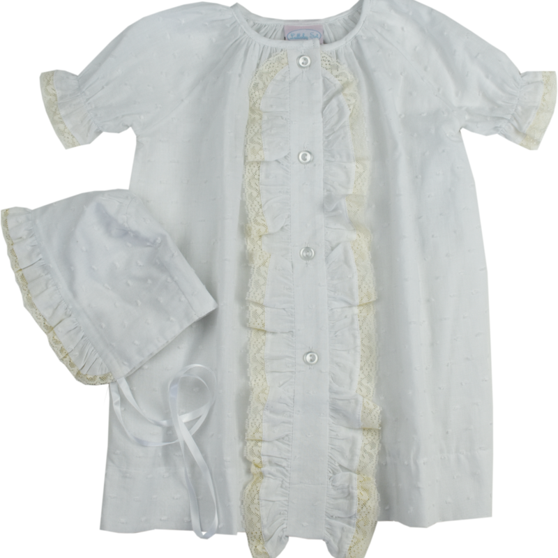 LULLABY SET TIMELESS DAYGOWN SET- SWISS DOT WHITE
