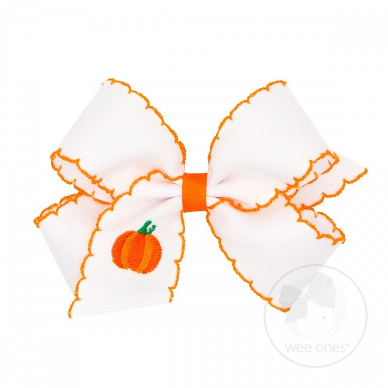WEE ONES MED WHT STITCH HARVEST BOW