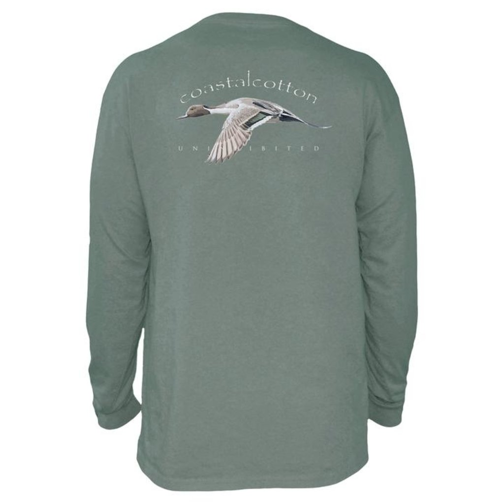 COASTAL COTTON CLOTHING ADULT LS  OLIVE GREEN PINTAIL TEE