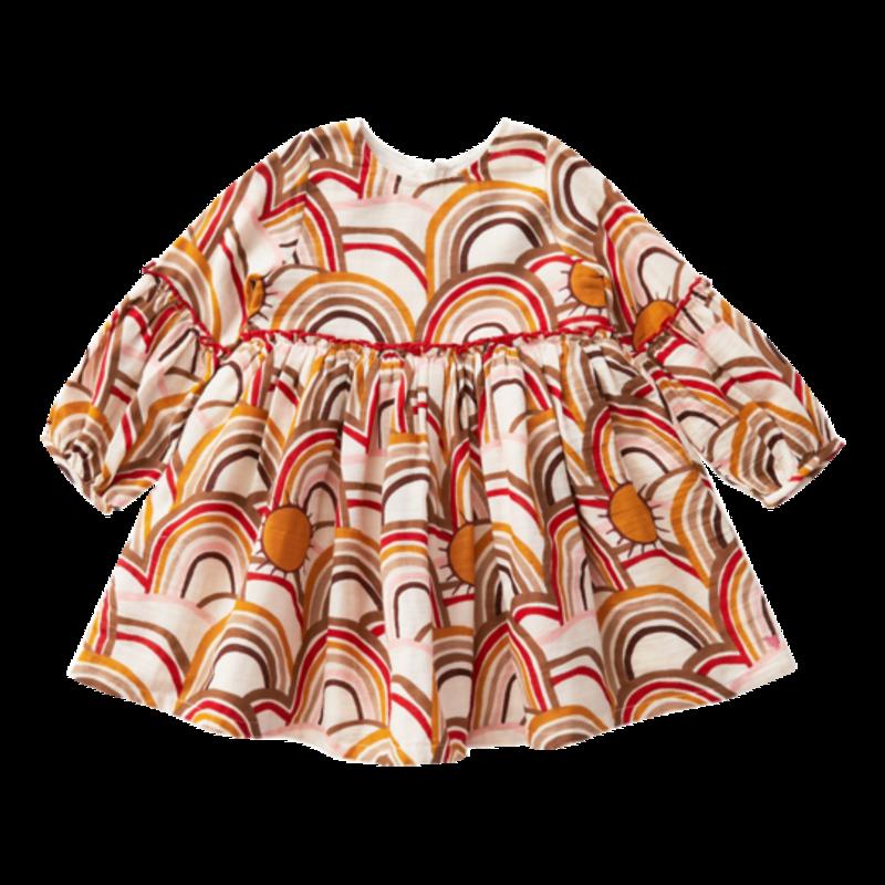 PINK CHICKEN CECELIA DRESS - ANTIQUE WHITE RAINBOWS