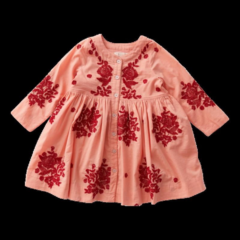 PINK CHICKEN JOCELYN DRESS - BURNT CORAL W/MARLOW EMB
