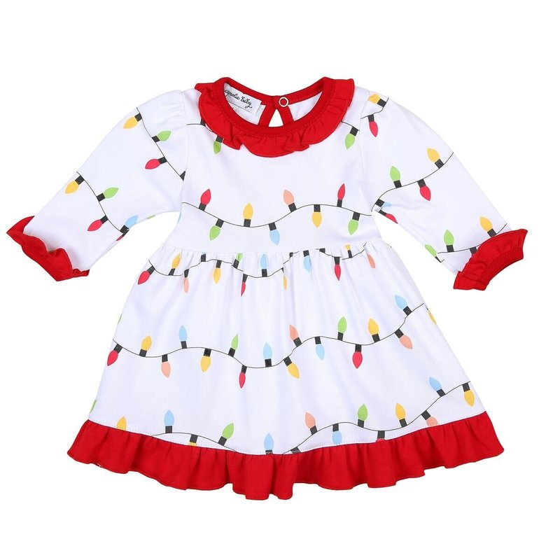MAGNOLIA BABY HOLIDAY LIGHTS PRINTED L/S DRESS SET - RD