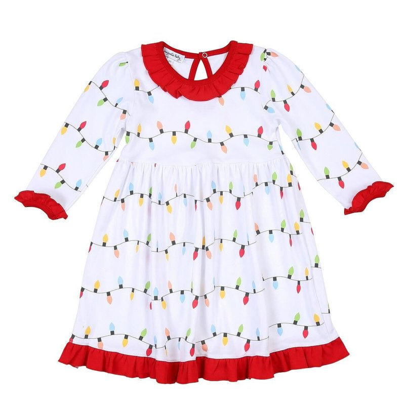 MAGNOLIA BABY HOLIDAY LIGHTS PRINTED L/S TODDLER DRESS - RD