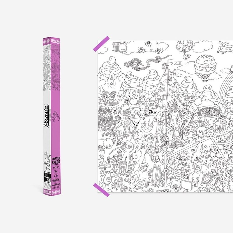 REALLY BIG COLORING POSTER- FOOD FIGHT