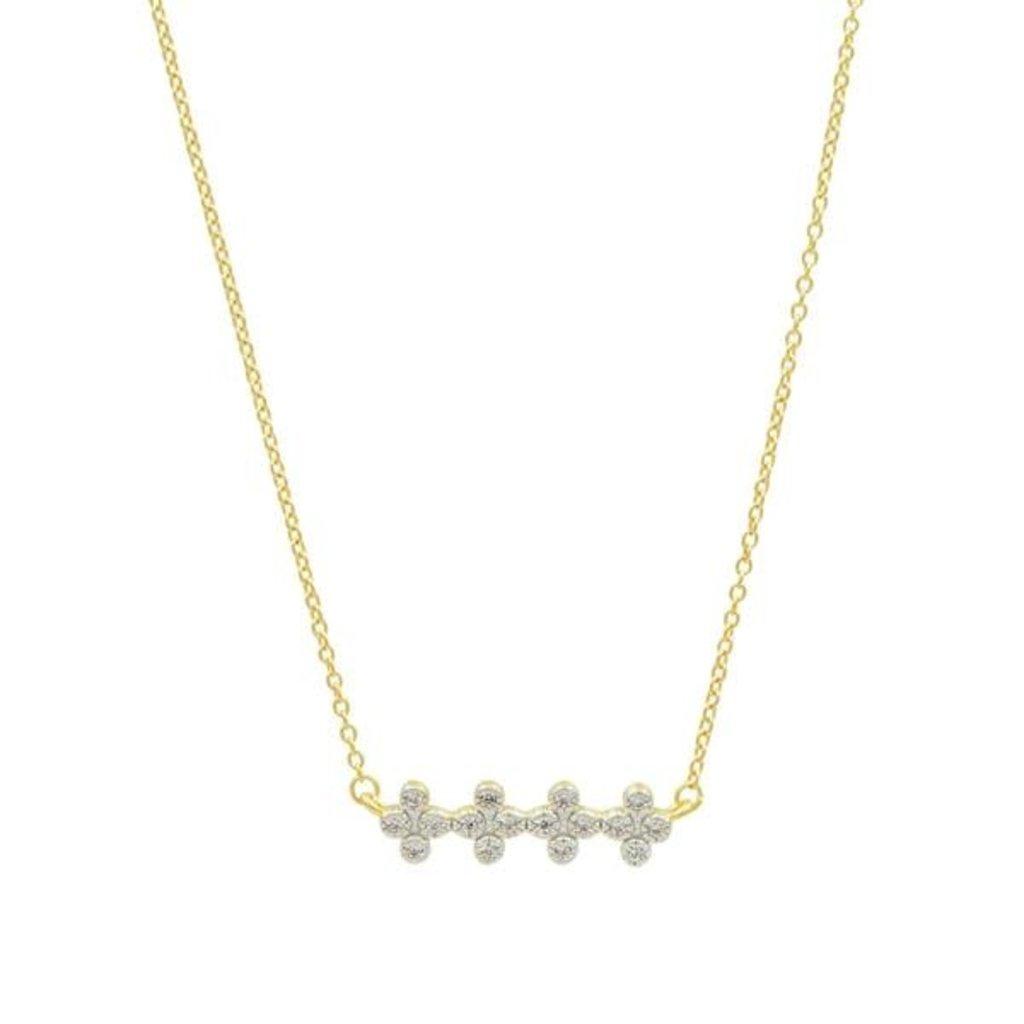 Freida Rothman Clover Bar Pendant Necklace Gold