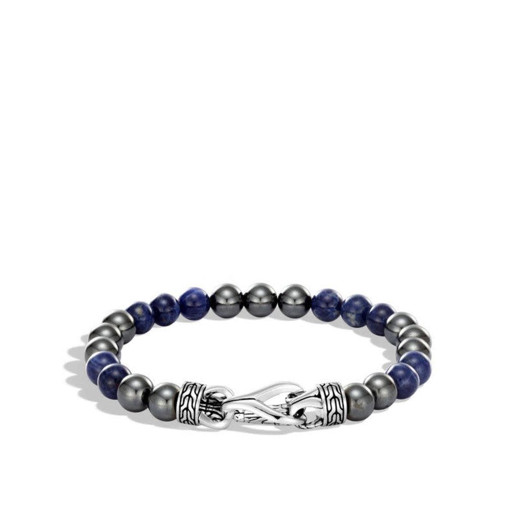 John Hardy Asli Classic Chain Link Bead Bracelet, Sodalite and Hematite