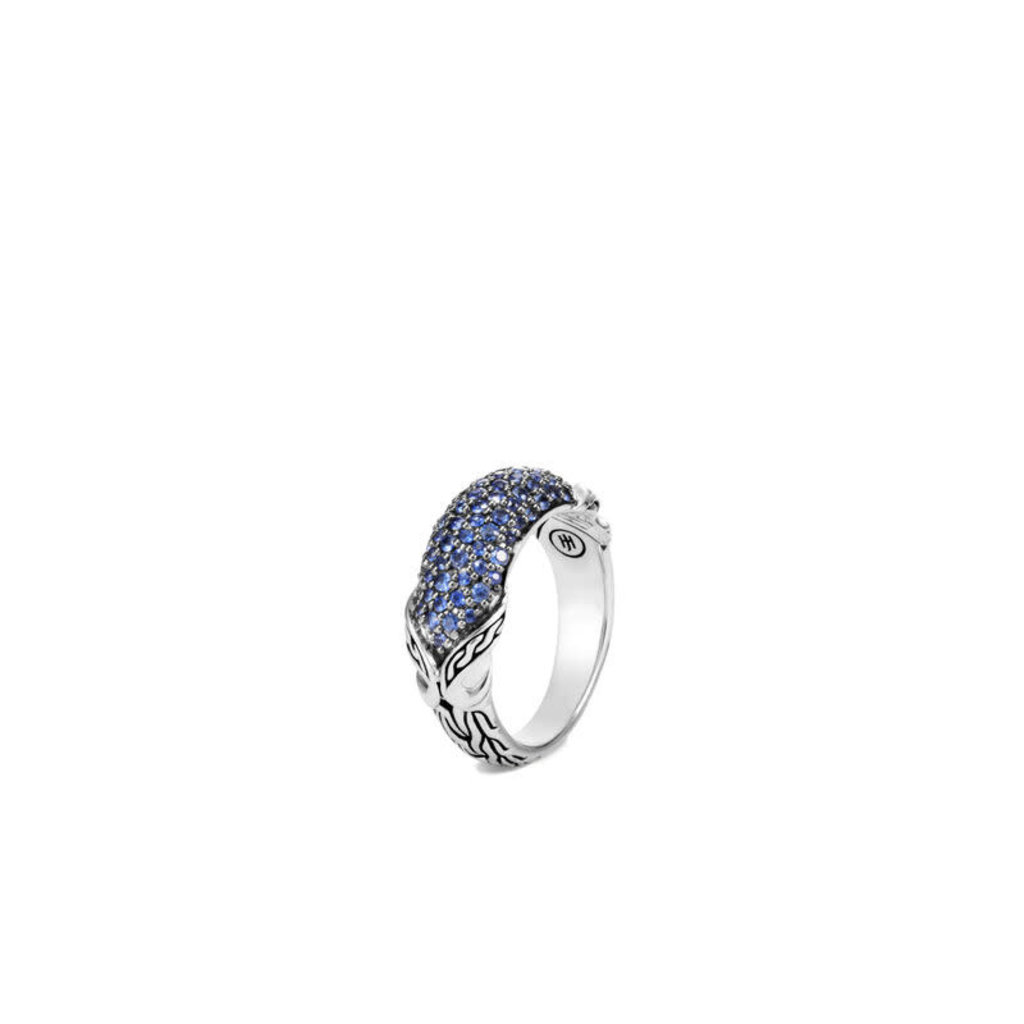 John Hardy Asli Classic Chain Link Dome Ring With Blue Sapphire