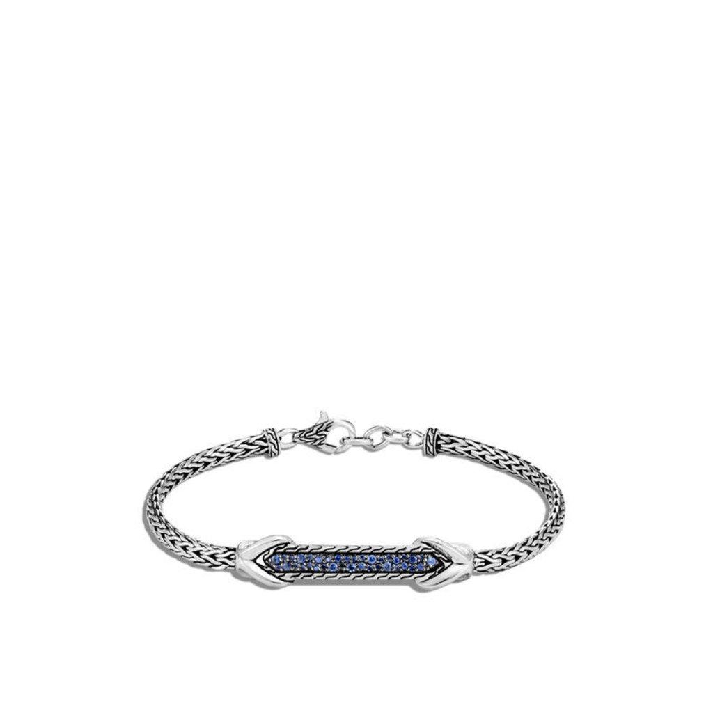 John Hardy Asli Classic Chain Link ID Bracelet With Blue Sapphire