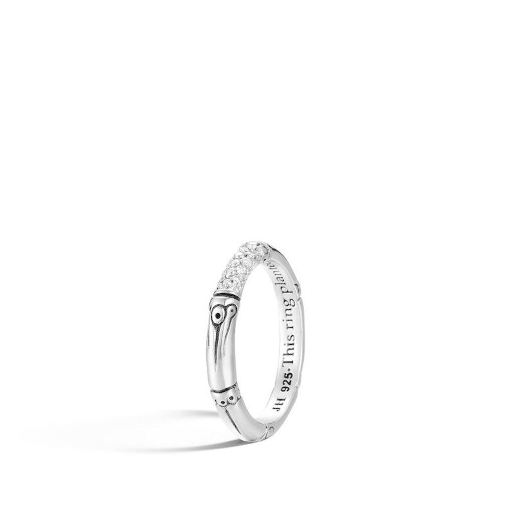 John Hardy Bamboo 3.5MM Band Ring With Diamonds