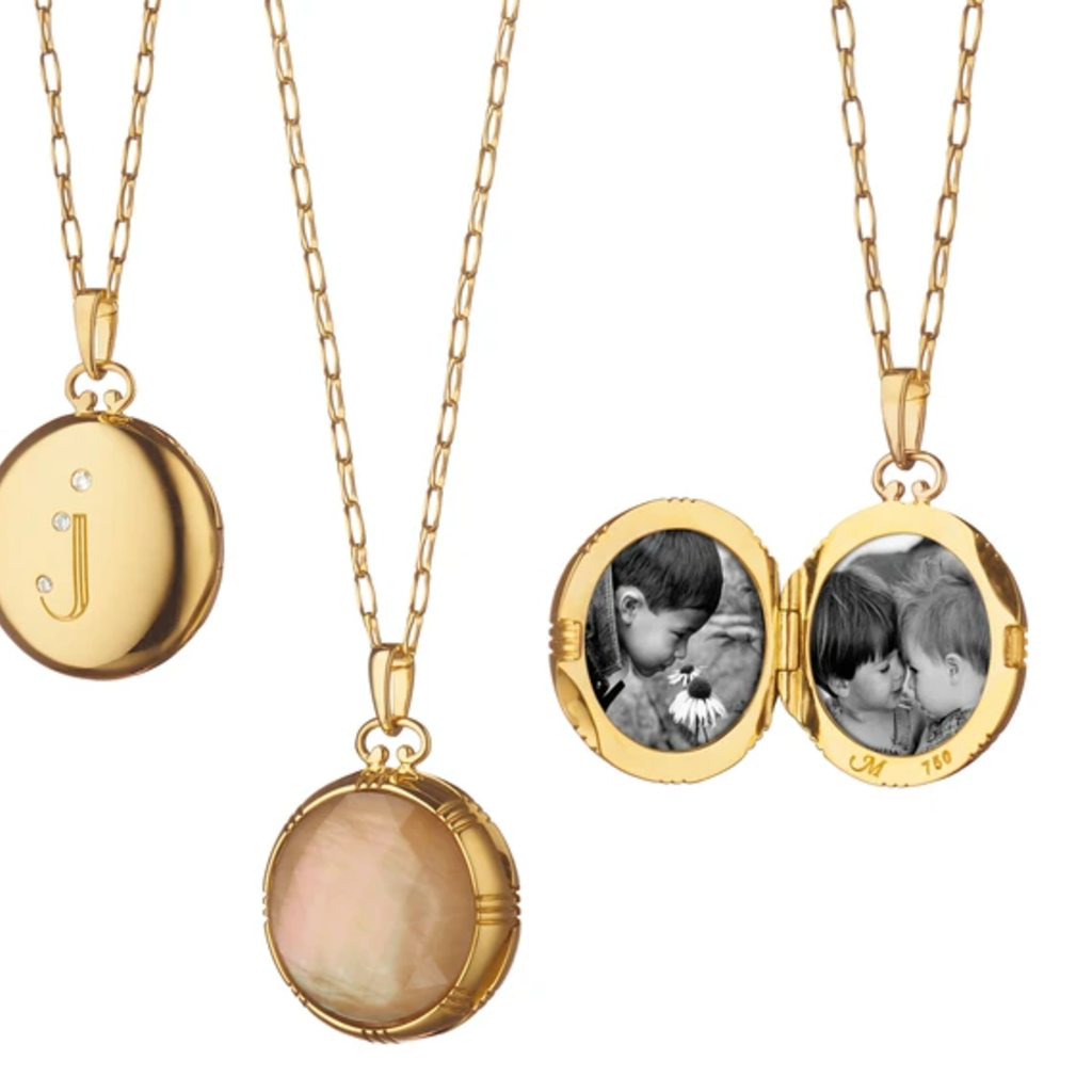 Monica Rich Bespoke Petite Diamond Initial Locket Necklace