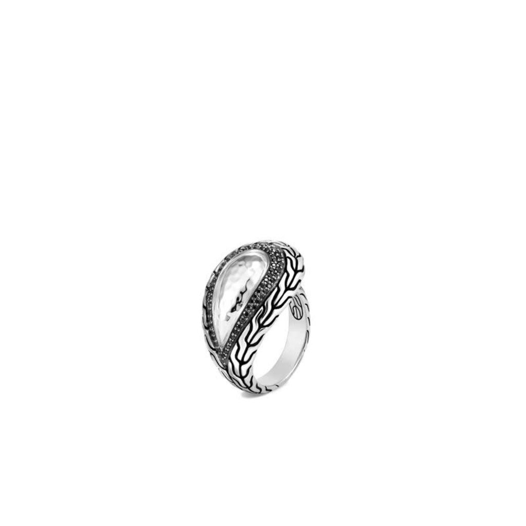 John Hardy Chain Hammered Ring With Black Sapphire and Black Spinel