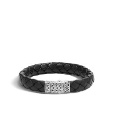 John Hardy Classic Chain 12MM Station Bracelet in Silver and Leather