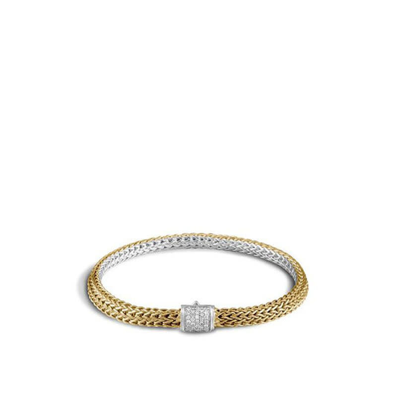 John Hardy Classic Chain Reversible Bracelet With Diamonds