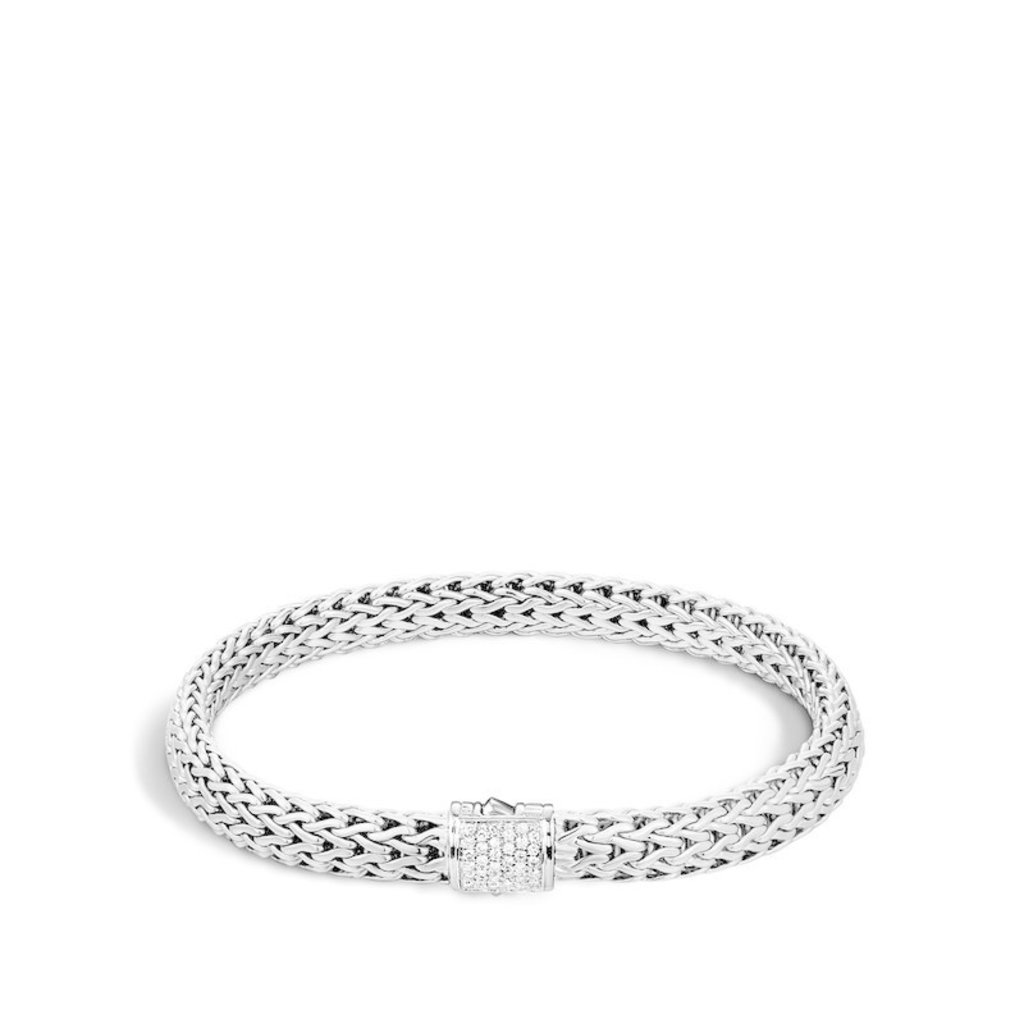 John Hardy Classic Chain 6.5MM Bracelet With Diamonds