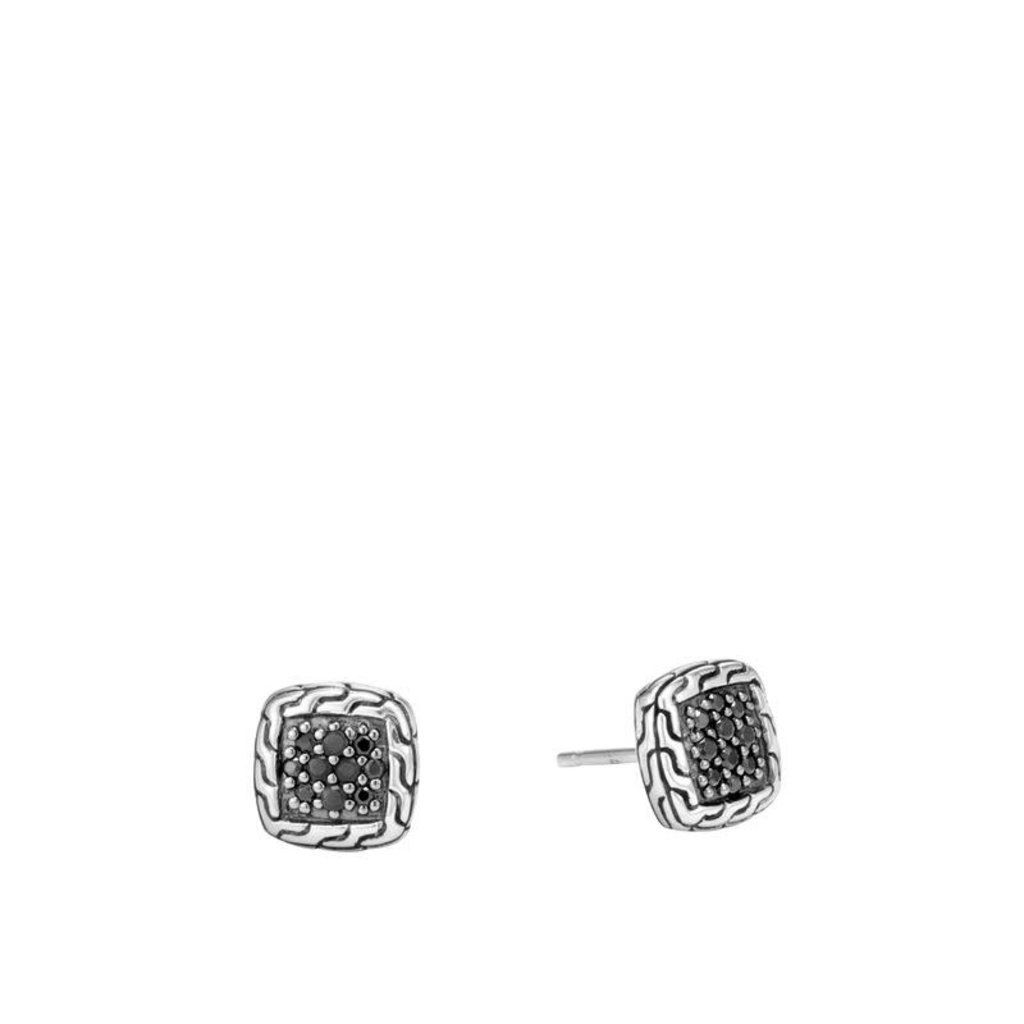 John Hardy Classic Chain 9.5MM Stud Earrings With Black Sapphire