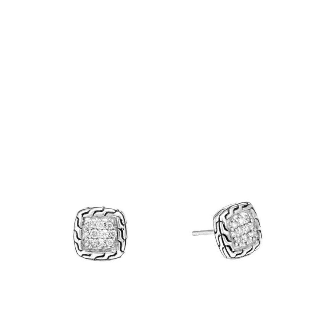 John Hardy Classic Chain 9.5MM Stud Earrings With Diamonds