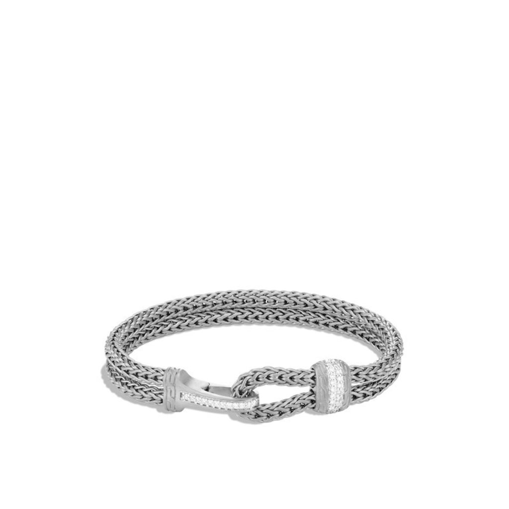 John Hardy Classic Chain Blackened Hook Clasp Bracelet With Diamonds