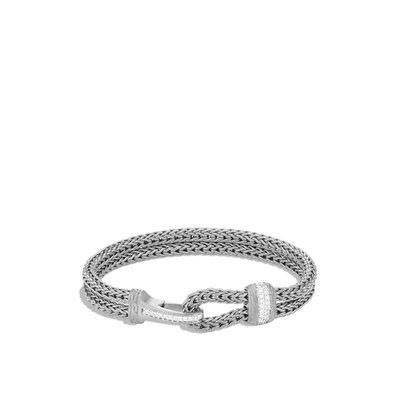 John Hardy Classic Chain Blackened Hook Clasp Diamond Bracelet