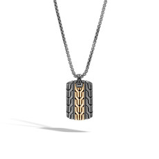 John Hardy Classic Chain Dog Tag Necklace Silver and 18K Gold