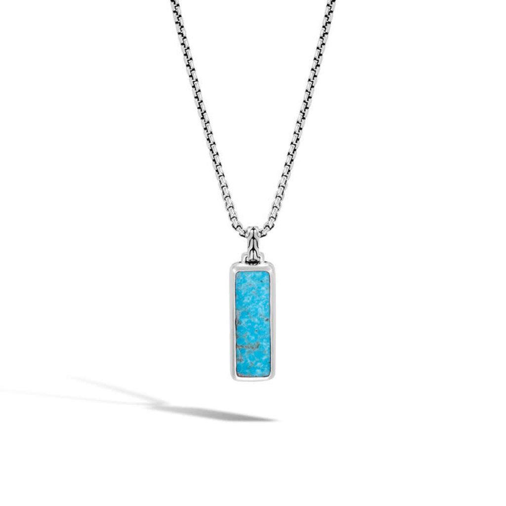 John Hardy Classic Chain Dog Tag Turquoise Pendant