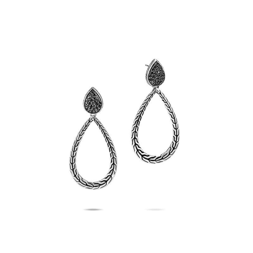 John Hardy Classic Chain Drop Earrings With Black Sapphire and Black Spinel