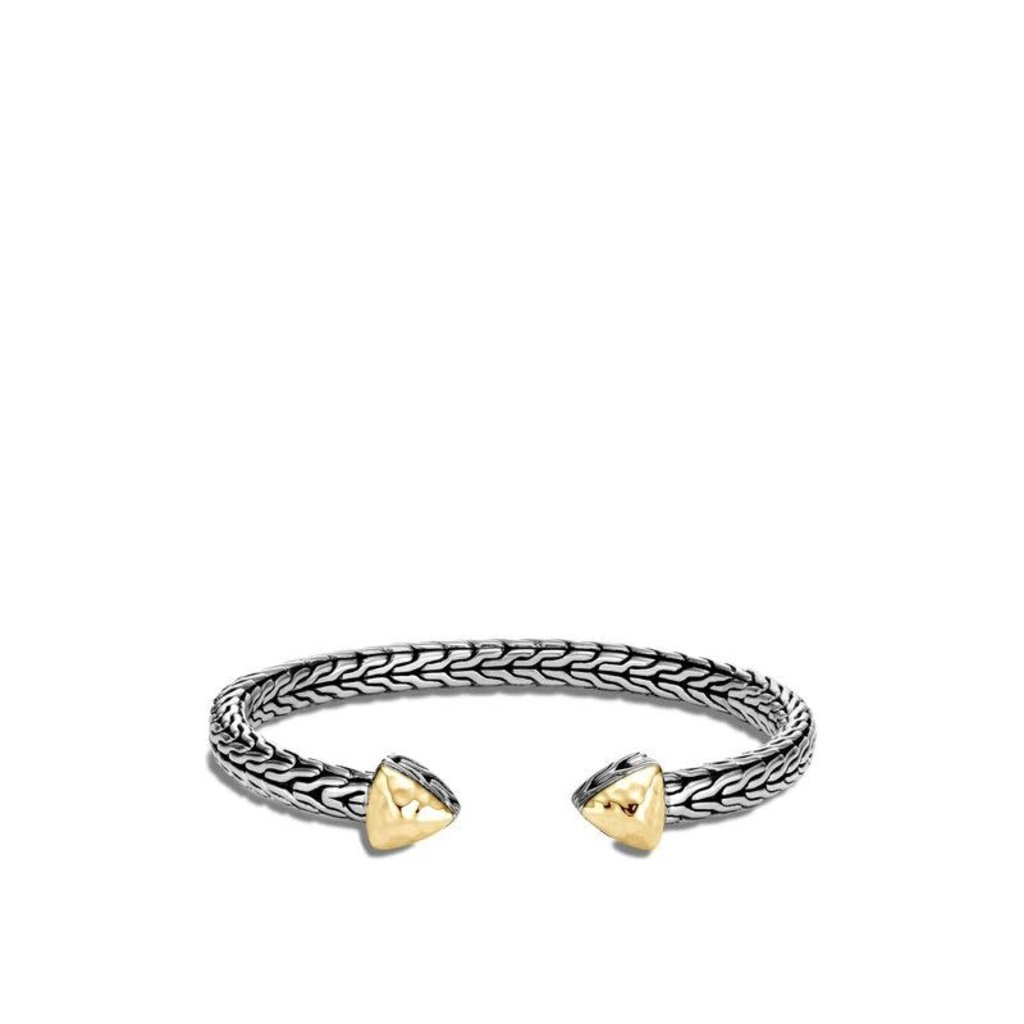 John Hardy Classic Chain Flex Cuff in Hammered Silver With 18K Gold