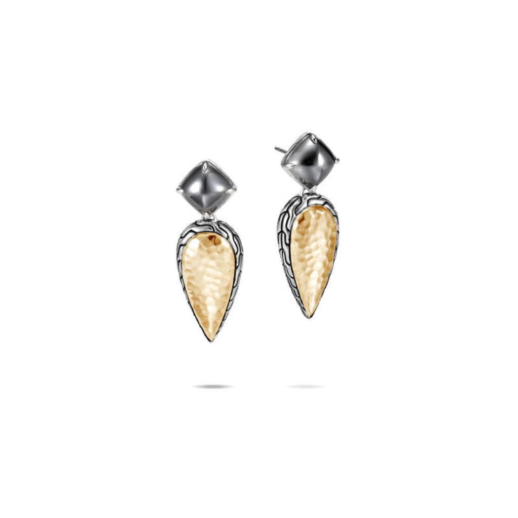 John Hardy Classic Chain Hammered Drop Earrings With 18K Gold and Hematite