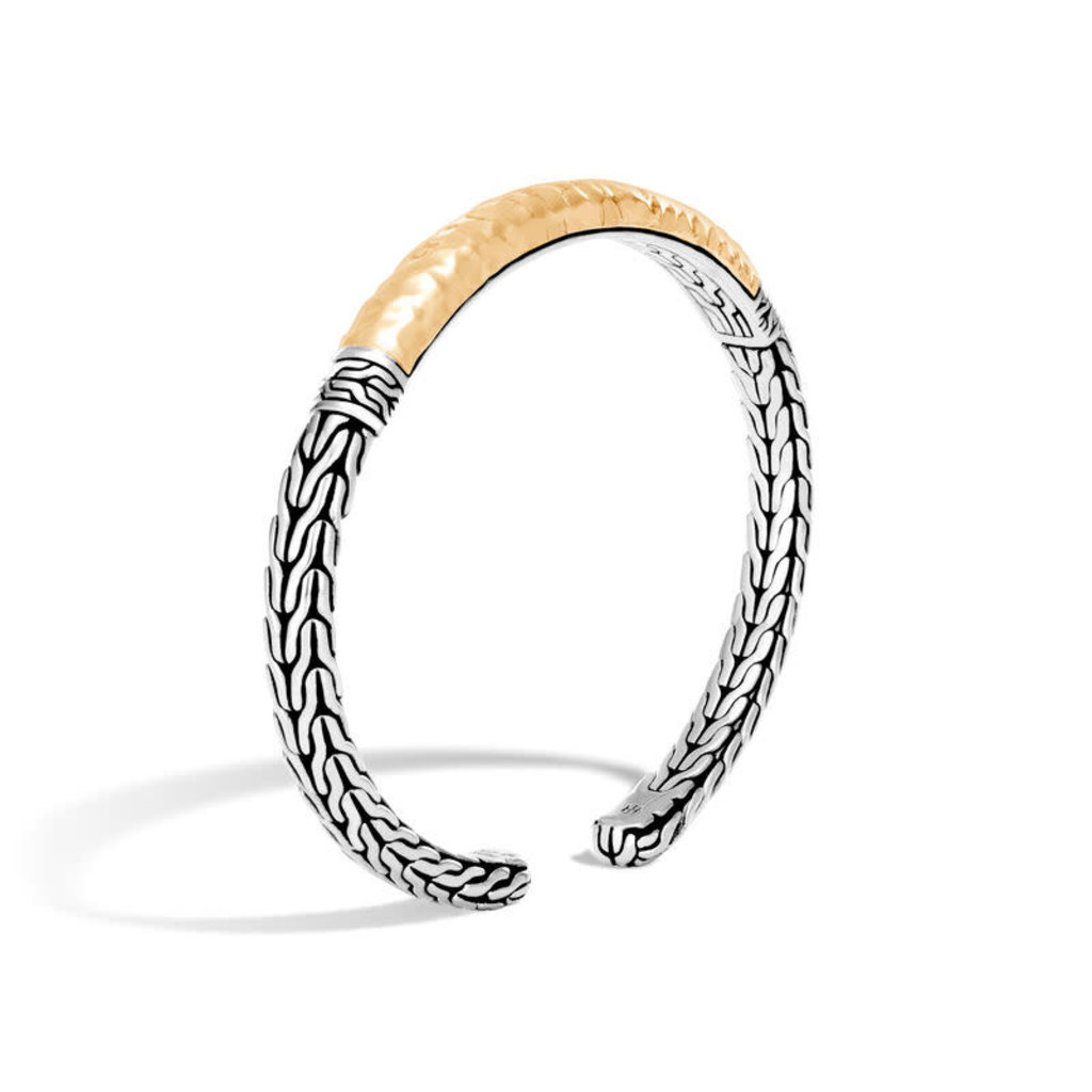 John Hardy Classic Chain Hammered Flex Cuff in Silver and 18K Gold