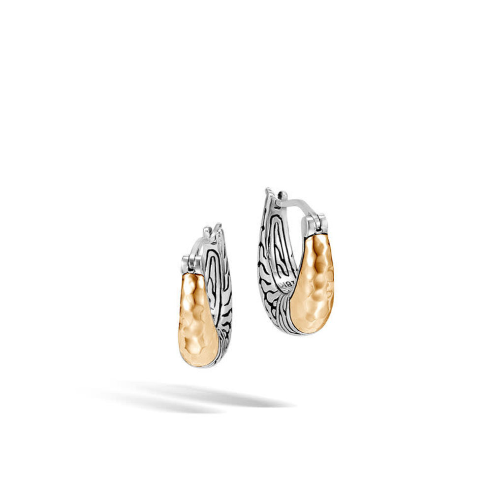 John Hardy Classic Chain Hammered Hoop Earring in Silver and 18K Gold