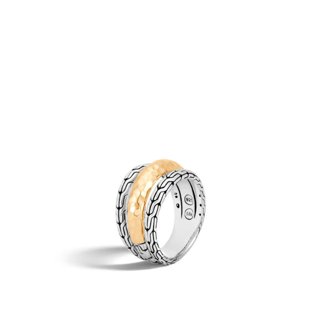 John Hardy Classic Chain Hammered Ring in Silver and 18K Gold