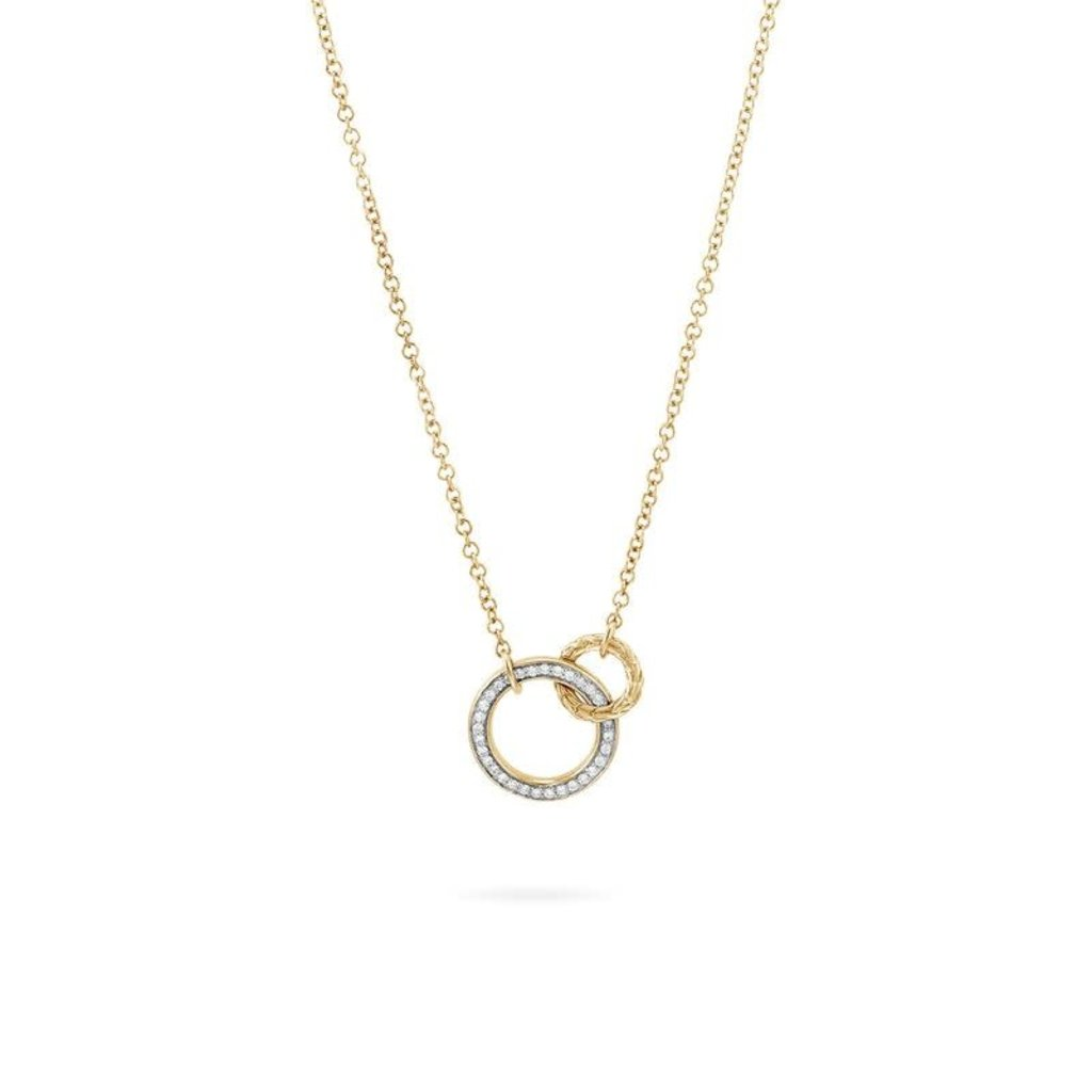 John Hardy Classic Chain Interlinking 18K Gold Necklace With Diamonds