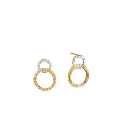 John Hardy Classic Chain Interlinking Stud Diamond Earrings