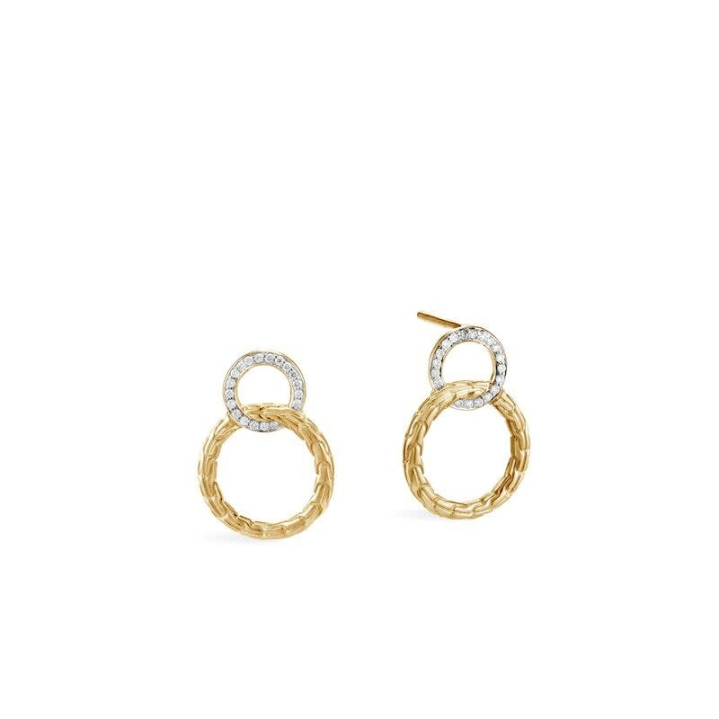 John Hardy Classic Chain Interlinking Stud Diamond Earrings