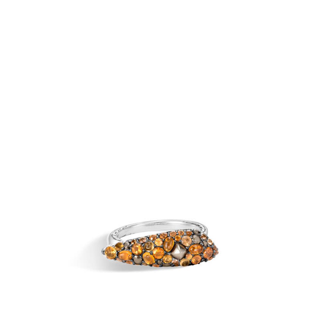 John Hardy Classic Chain Ring With Mixed Garnet, Citrine, Orange Sapphire, Pyrite, and Marcasite