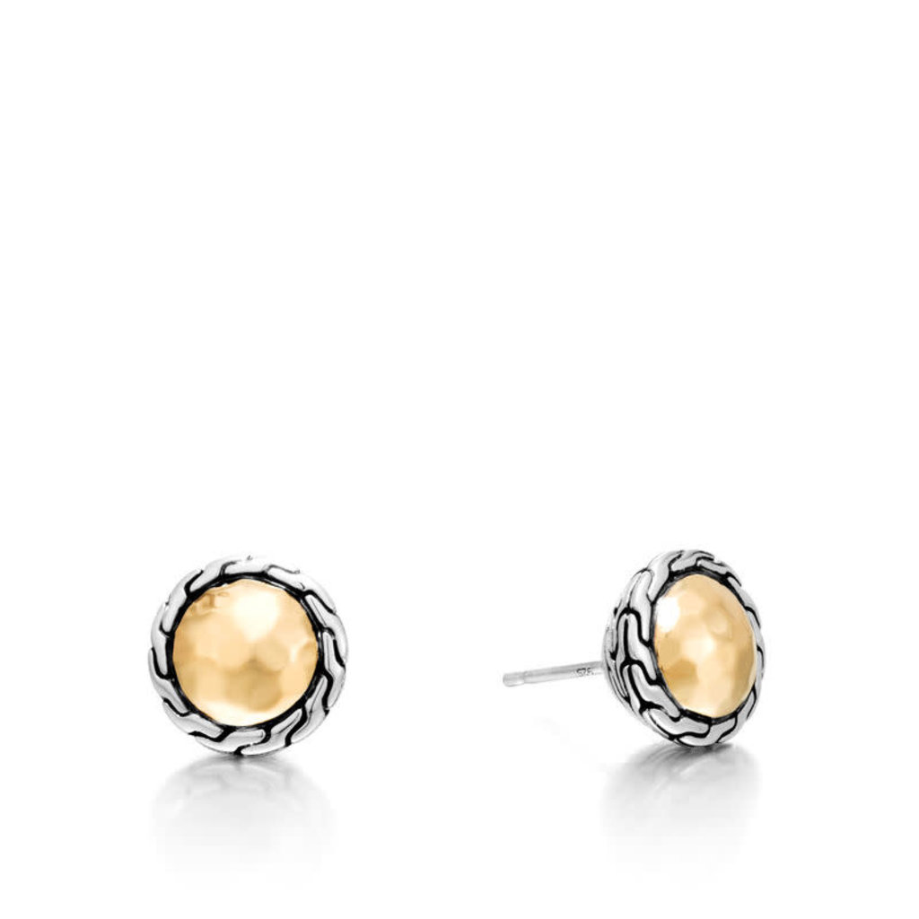 John Hardy Classic Chain Round Hammered Stud Earrings with 18K Gold and Silver