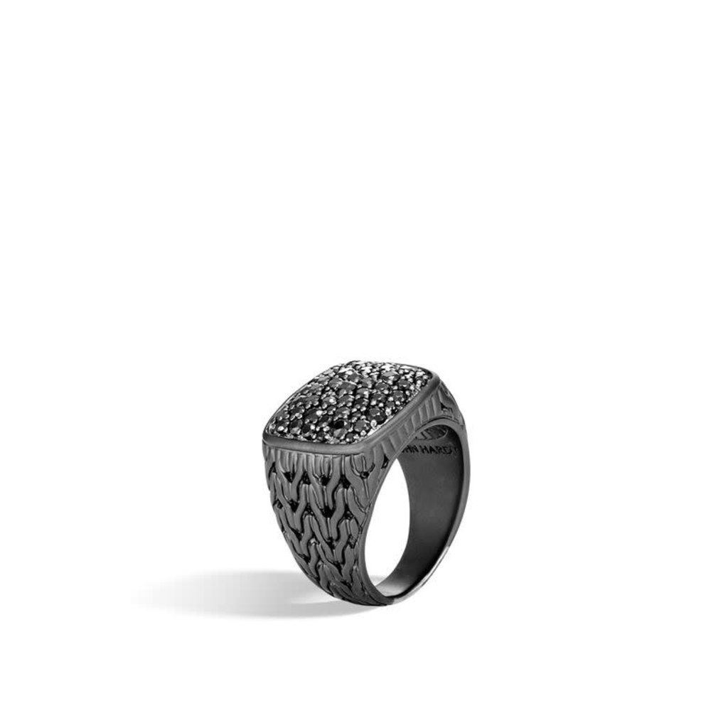 John Hardy Classic Chain Signet Ring With Black Sapphire