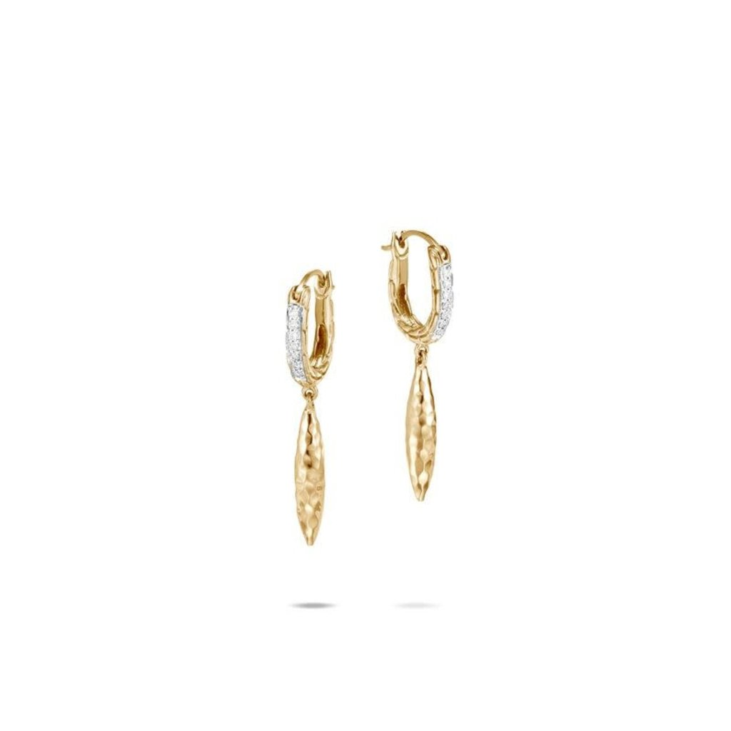John Hardy Classic Chain Spear Drop Earrings With Diamonds