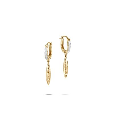 John Hardy Classic Chain Spear Drop Diamond Earrings