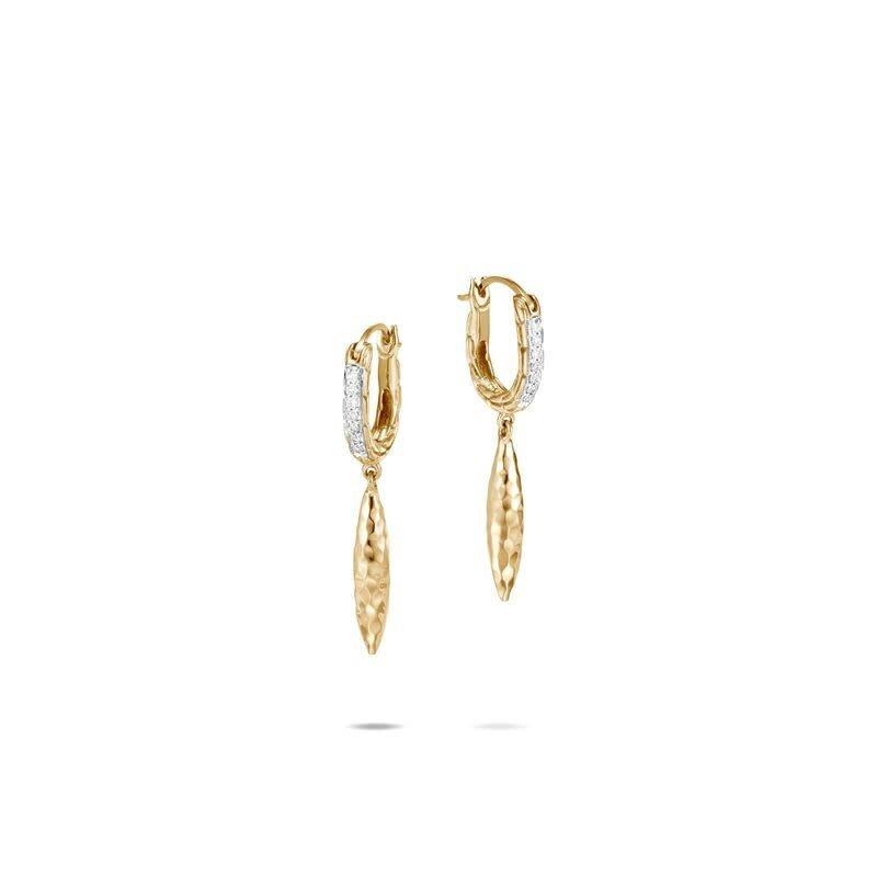 John Hardy Classic Chain Spear Drop Diamond Earrings