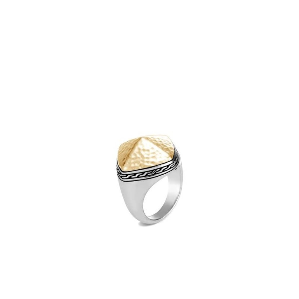 John Hardy Classic Chain Sugarloaf Ring in Silver and 18K Gold