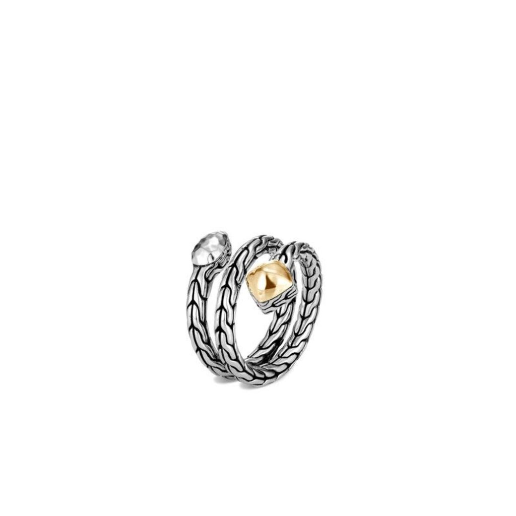 John Hardy Classic Hammered Chain Coil Ring in Silver and 18K Gold