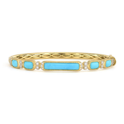 Jude Frances Delicate Moroccan Long Turquoise Stone Bangle