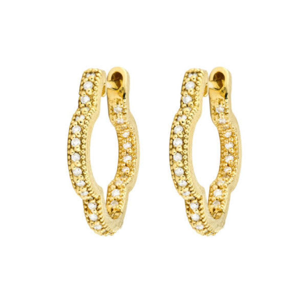 Jude Frances Delicate Small Clover Hoop Earrings